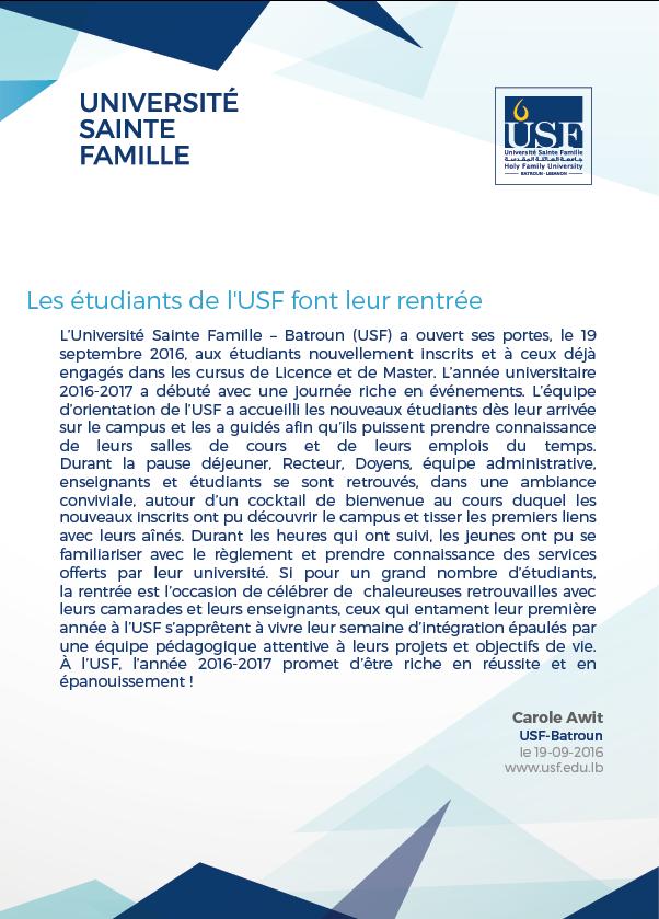 La rentrée USF 2016-2017