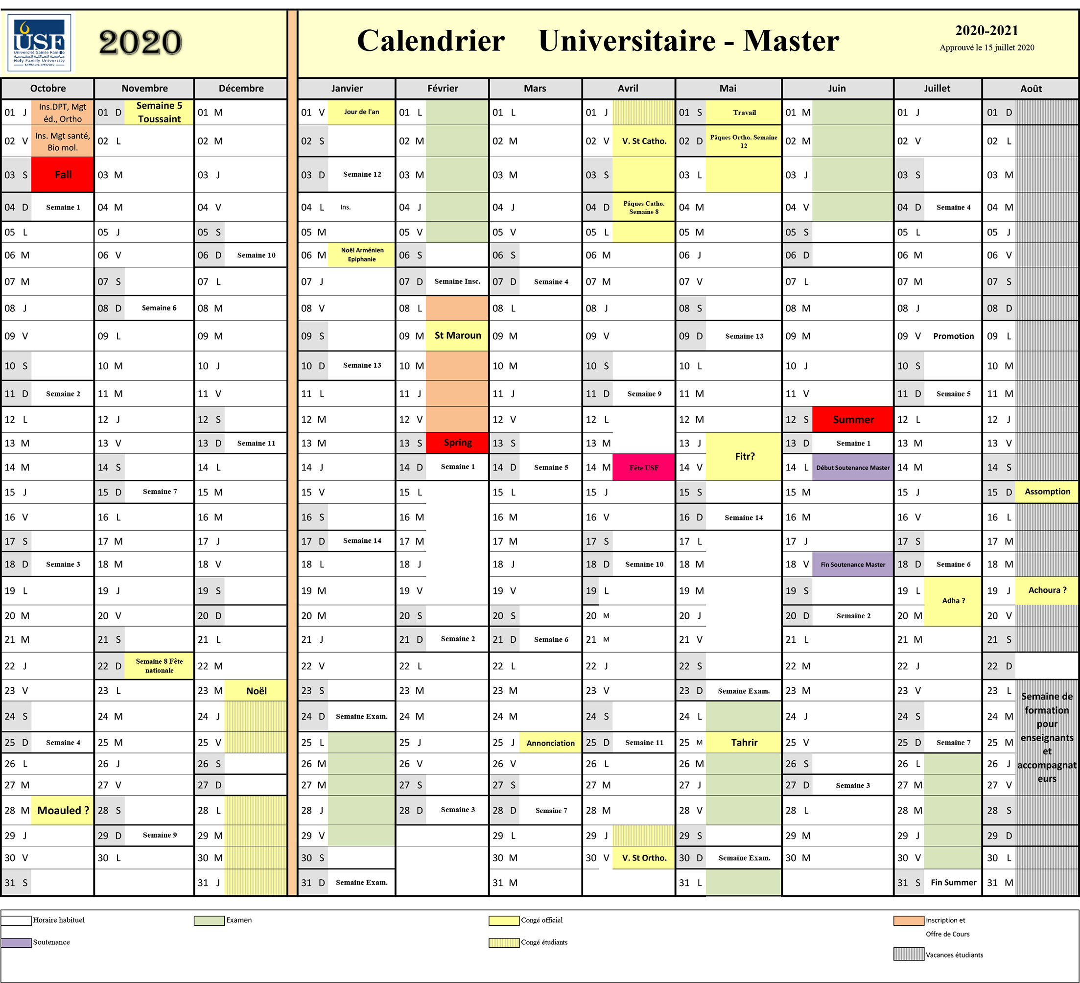 Calendrier Universitaire 2020-2021 / Niveau Master