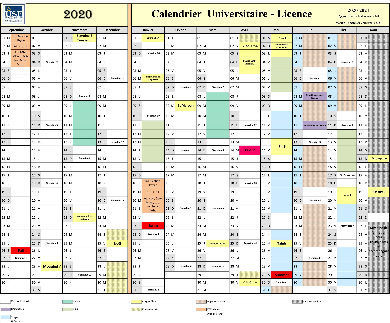 Calendrier Universitaire 2020-2021 / Niveau Licence